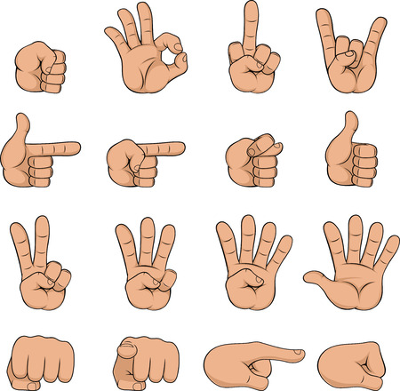 gestures: Vector illustration, cartoon hand showing different gestures