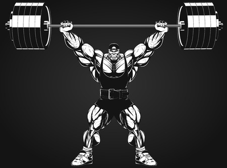 building contractor cartoon: Vector illustration, bodybuilder performs an exercise with a barbell