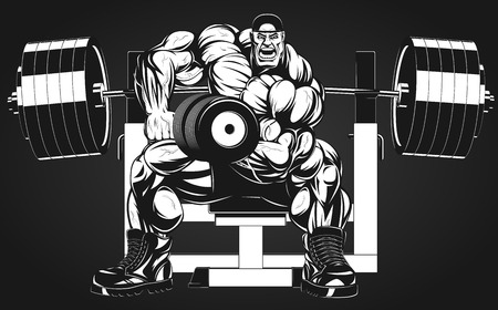 Vector illustration, bodybuilder doing exercise with dumbbells for biceps Çizim