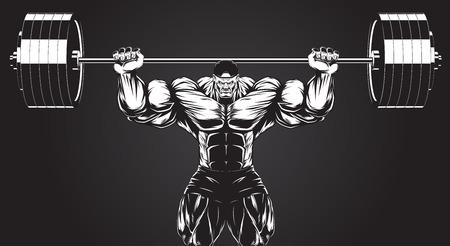 cuerpo hombre: Ilustraci�n del vector, culturista realiza un ejercicio con una mancuerna