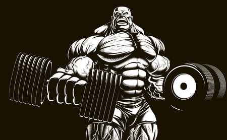 humour: Vector illustration, bodybuilder doing exercise with dumbbells for biceps Illustration