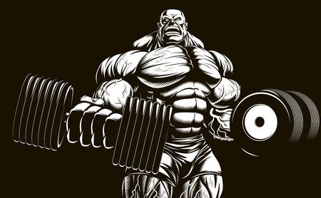 Vector illustration, bodybuilder faire des exercices avec des haltères pour les biceps