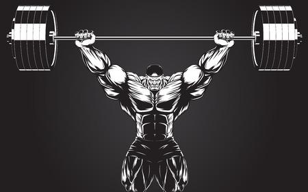 levantamiento de pesas: Ilustración del vector, culturista realiza un ejercicio con una mancuerna