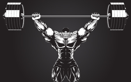barbell: Vector illustration, bodybuilder performs an exercise with a barbell