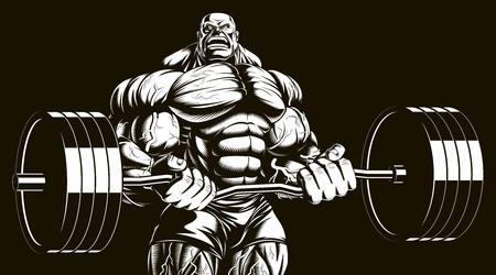 Vector illustration, bodybuilder doing exercise with barbell for biceps Illustration