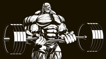 Vector illustration, bodybuilder doing exercise with barbell for biceps Çizim