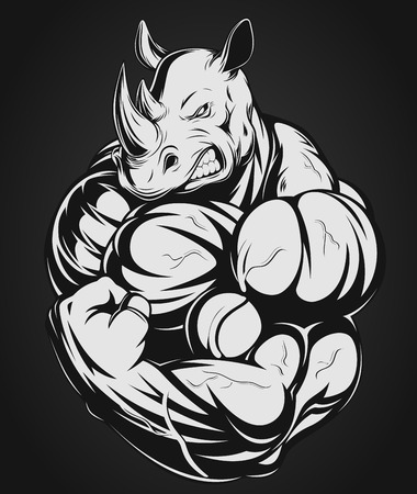 steroids: Vector illustration of a strong rhino with big biceps