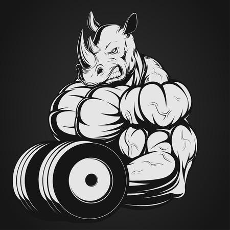 caricaturas de animales: Ilustración vectorial, fuerte rinoceronte haciendo ejercicio con pesas para bíceps