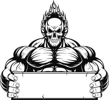 Vector illustration, outline a bodybuilder, a fiery skull on a white background