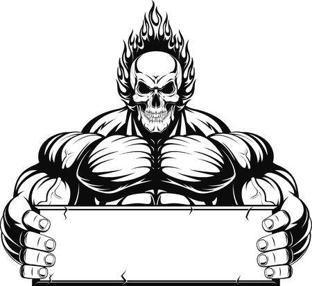 illustrazione uomo: Illustrazione vettoriale, delineare un culturista, un teschio di fuoco su uno sfondo bianco