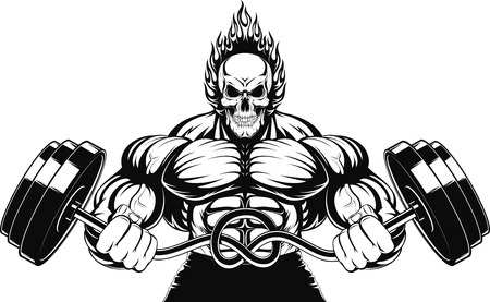 Vector illustration of a strong bodybuilder with barbell