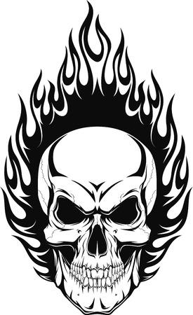 calavera caricatura: Ilustraci�n vectorial de un cr�neo humano con las llamas