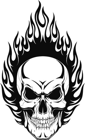 tete de mort: Vector illustration d'un crâne humain avec des flammes Illustration