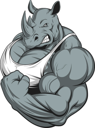 strong: Vector illustration of a strong rhino with big biceps