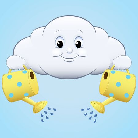 raincloud: illustration icon clouds with watering blue sky Illustration