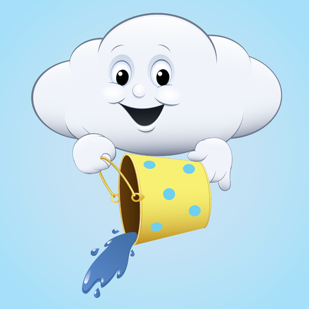 raincloud: illustration icon with a bucket clouds blue sky