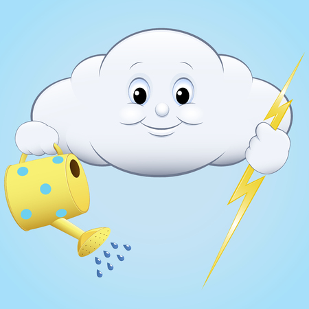 gush: illustration icon clouds with watering and lightning, blue sky