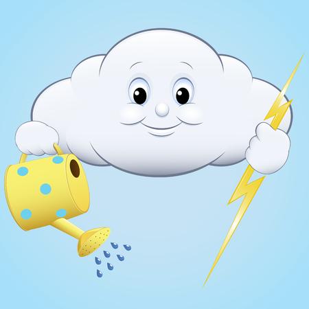 drench: ilustración icono de nubes con el riego y el relámpago, cielo azul