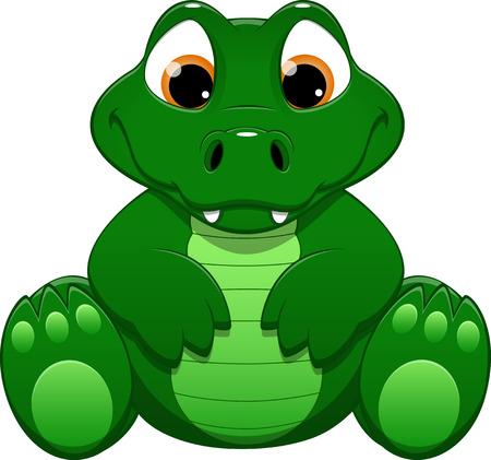 crocodile: ejemplo lindo cocodrilo divertido sobre un fondo blanco Vectores