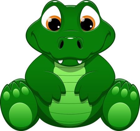 krokodil: illustration cute funny Krokodil auf wei�em Hintergrund