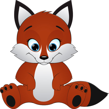 sly: illustration pretty sly fox sitting and smiling
