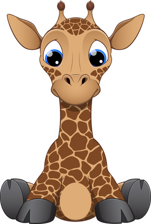baby animal cartoon: illustration funny little giraffe on a white background