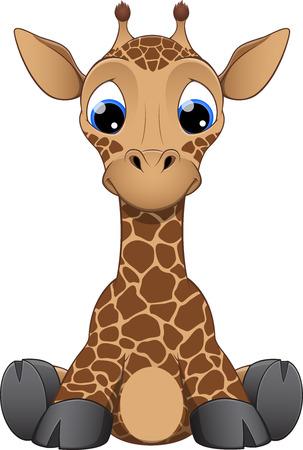 furry animals: ilustración pequeña jirafa divertida sobre un fondo blanco