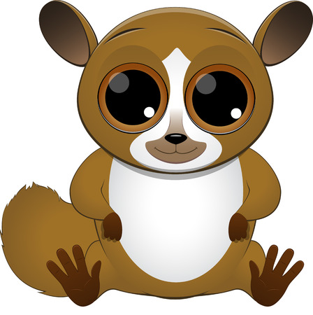 illustration cute baby lemur on a white background