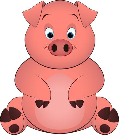 bacon art: pig on a white background,  illustration Illustration