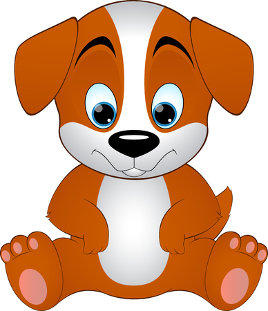 wagging: cute dog on a white background, illustration Illustration