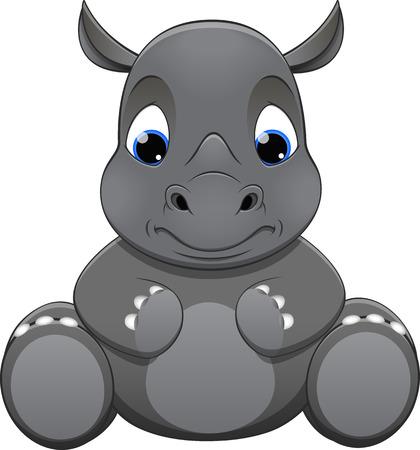 bebe sentado: Ilustración vectorial, rinoceronte bebé, sobre un fondo blanco