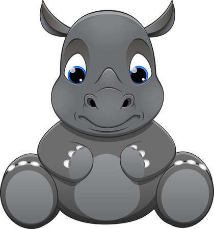 Vector illustration, rhino baby, on a white background