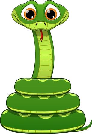 Illustration der grünen Schlange auf einem weißen Hintergrund Standard-Bild - 39845632
