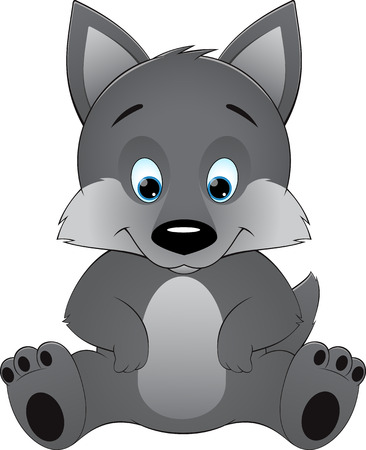 Cute wolf on a white background
