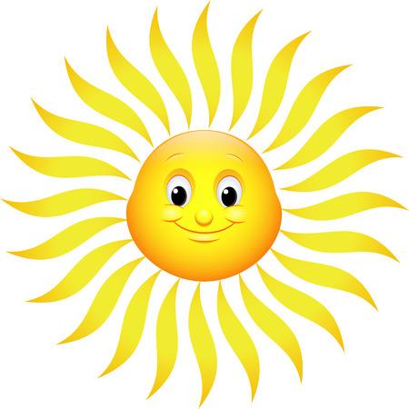 high temperature: illustration fun sun on a white background