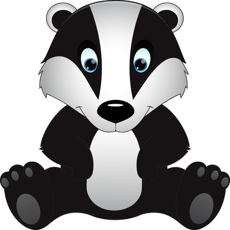 one animal: cartoon badger children illustration Illustration