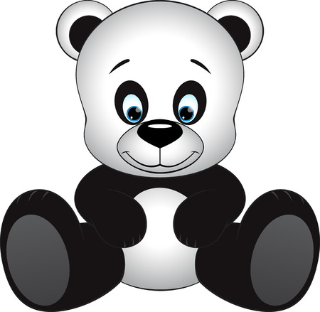 one panda: Cute little panda sitting on a white background Illustration