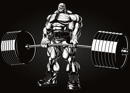 bodybuilder: Ilustración del vector, culturista realiza un ejercicio con una mancuerna