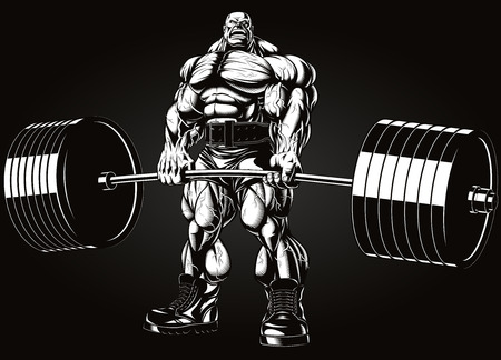 steroids: Vector illustration, bodybuilder performs an exercise with a barbell