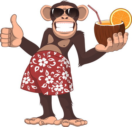 monkey face: Vector illustration, chimpanzee holding a cocktail and smiling
