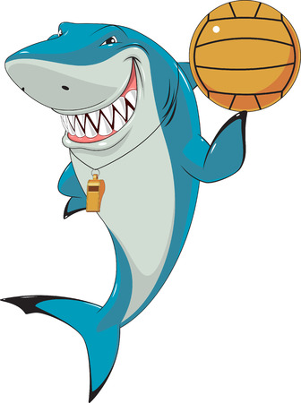 Vector illustration, funny white shark with a ball for the game of waterpolo