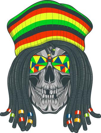 Vector illustration, skull with dreadlocks and cap Vettoriali