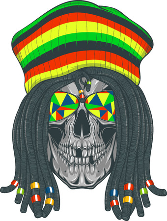 Vector illustration, skull with dreadlocks and cap Ilustração