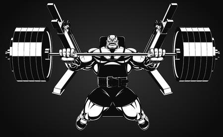 culturista: Ilustraci�n del vector, culturista realiza un ejercicio con una mancuerna