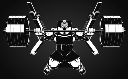 Vector illustratie, bodybuilder voert een oefening met een barbell Vector Illustratie
