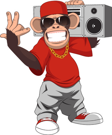 hiphop: Vector illustration, funny chimpanzee with a tape recorder