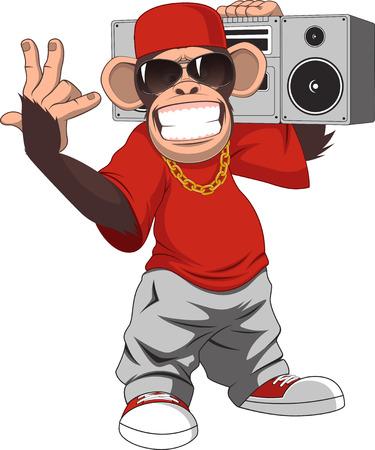 tanzen cartoon: Vektor-Illustration, lustige Schimpanse mit einem Tonbandger�t