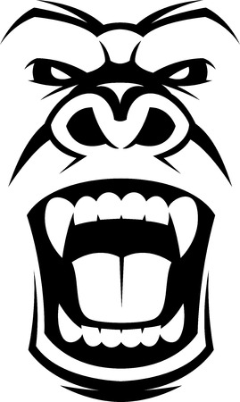 angry animal: Vector illustration, head evil ferocious gorilla shouts