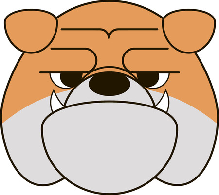 english bulldog: Vector illustration of funny bulldog smiling on a white background Illustration