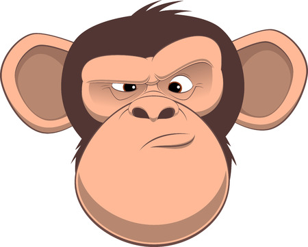 Vector illustration, funny chimpanzee frowns, on a white background Ilustracja
